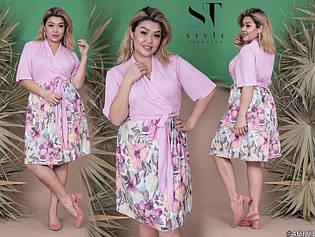 Летнее воздушное платье с запахом и цветастой юбкой и пояском, батал большие размеры