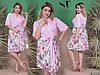 Летнее воздушное платье с запахом и цветастой юбкой и пояском, батал большие размеры, фото 2
