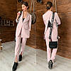 Костюм женский брючный стильный удлиненный пиджак с разрезом сзади и брюки  Dld1421