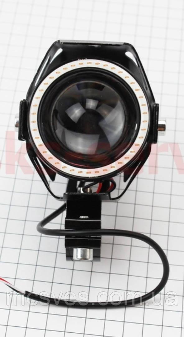 """Фара дополнительная светодиодная влагозащитная - LED линза с ободком """"ангельский глаз"""""""