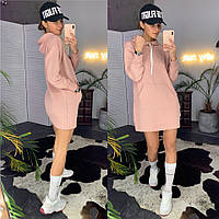 Платье худи женское стильное с капюшоном и карманом кенгуру Smld3122, фото 1