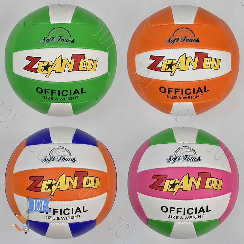 Мяч волейбольный 772-510 (60)  мягкий PVC, 4 цвета, 260-280 грамм, резиновый балон