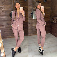 Костюм женский брючный стильный в полоску удлиненный пиджак и брюки  Dld1422, фото 1