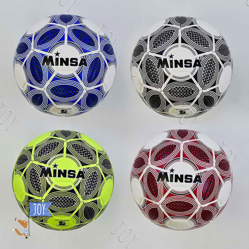 Мяч футбольный С 34548 (60) 4 цвета, 400-420 грамм, баллон с ниткой, материал - TPE (термополиуретан)