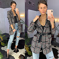 Пиджак женский в клетку стильный удлиненный с поясом и карманами Pld148