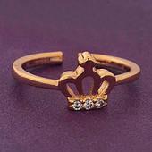 Женское кольцо Корона.  Медицинское золото. Размер регулируемый