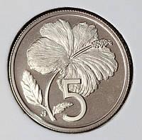 Монета Островов Кука 5 центов 1974 г. Пруф из набора