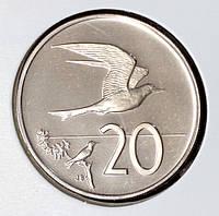 Монета Островов Кука 20 центов 1974 г. Пруф из набора