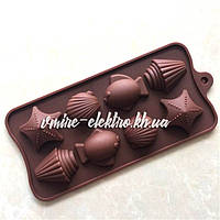 Силиконовая форма для конфет, льда, желе Морская 8 шт 21*10 см