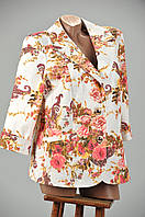 Женский котоновый  пиджак с цветочным принтом по низким ценам