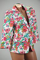Купить женский котоновый пиджак с цветочным принтом по низким ценам