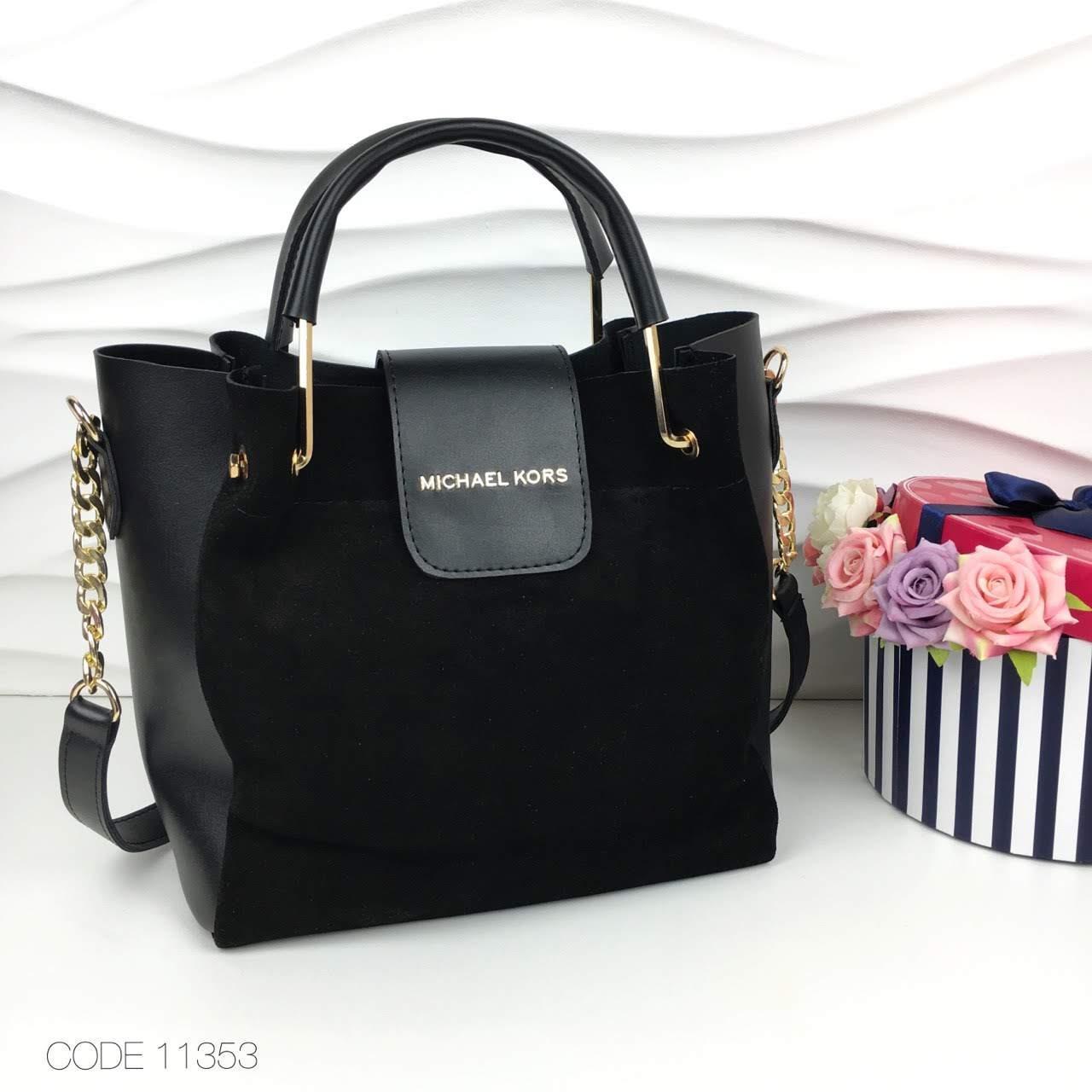 10650ecb53f7 Женская сумка Michael Kors комбинированная натуральная замша с эко кожей -  Интернет-магазин