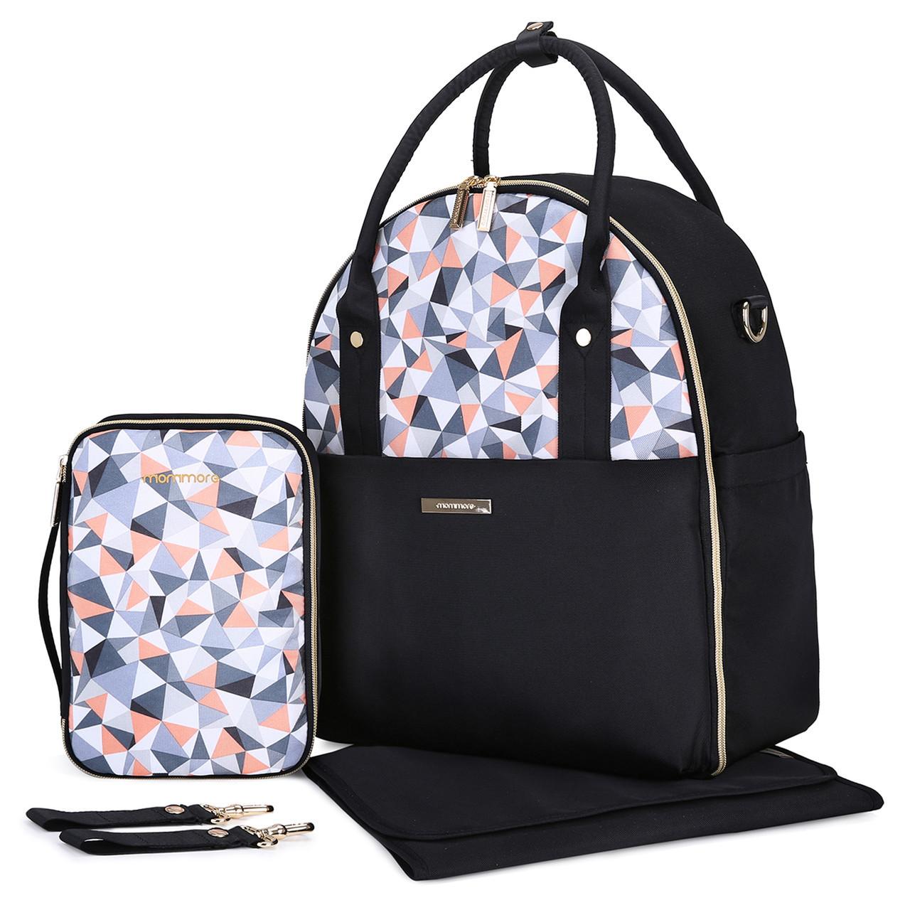 Большая сумка-рюкзак для прогулок и путешествий с младенцем  Mommore  черный для мам