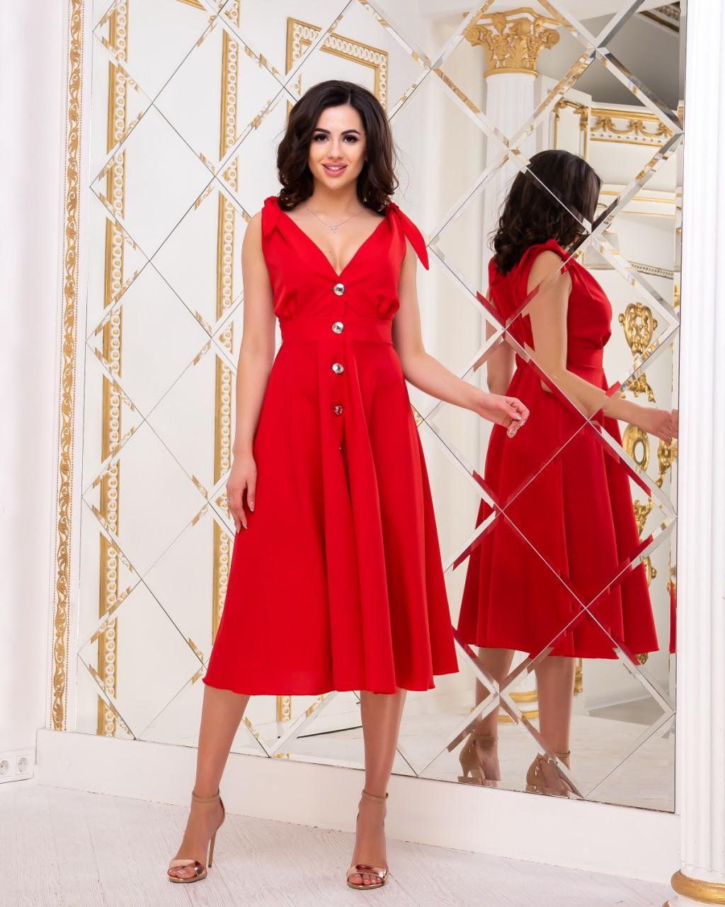 Красивое летнее платье на пуговицах с завышенной талией и завязками на плечах