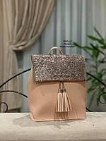 Женские рюкзаки Глиттер,пудра, фото 1