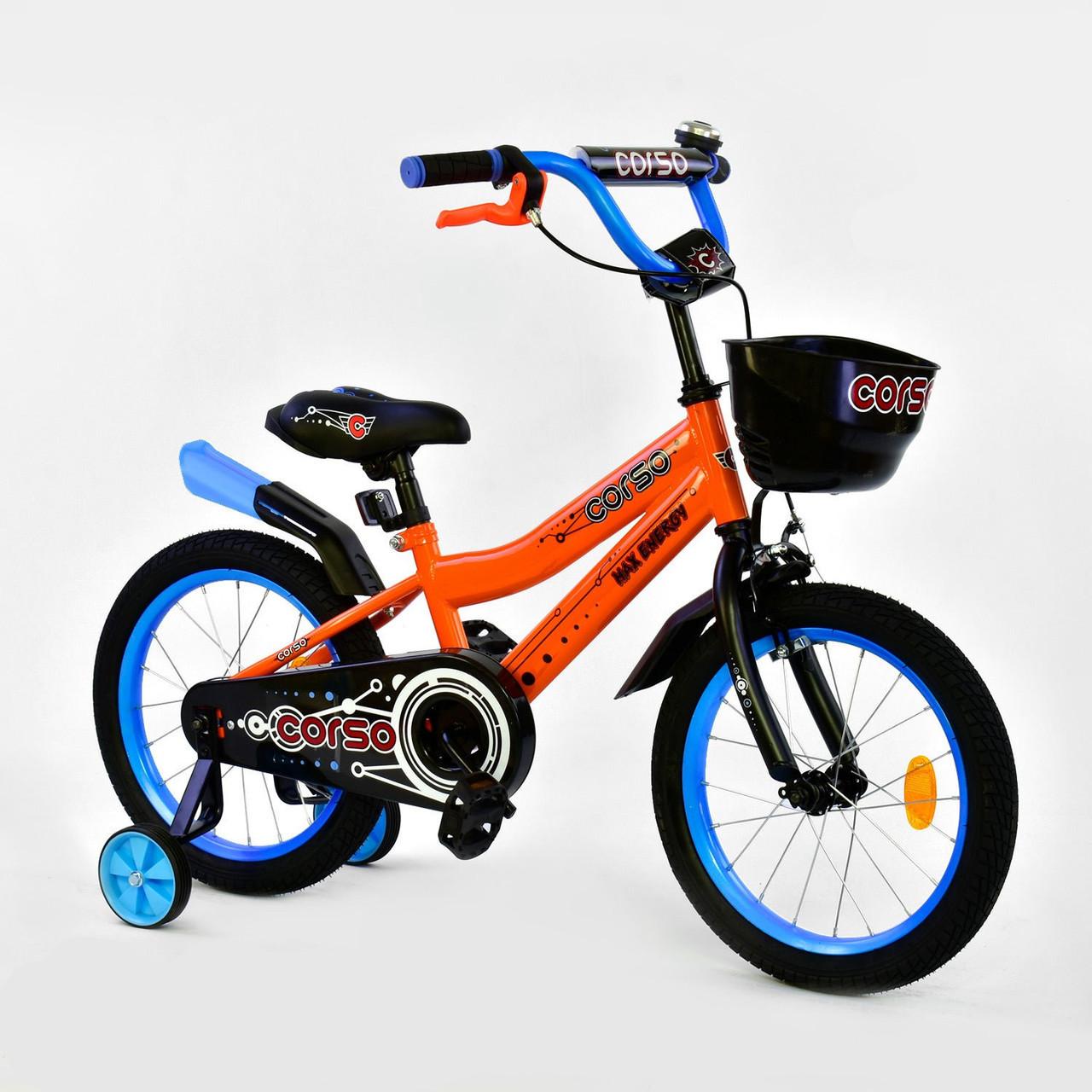"""""""Велосипед 16"""""""" дюймов 2-х колёсный R-16370 """"""""CORSO"""""""", ручной тормоз, звоночек, сидение с ручкой, дополнительн"""