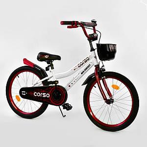 """Велосипед 20"""" дюймов 2-х колёсный R-20010 """"CORSO"""", ручной тормоз, звоночек, корзинка"""