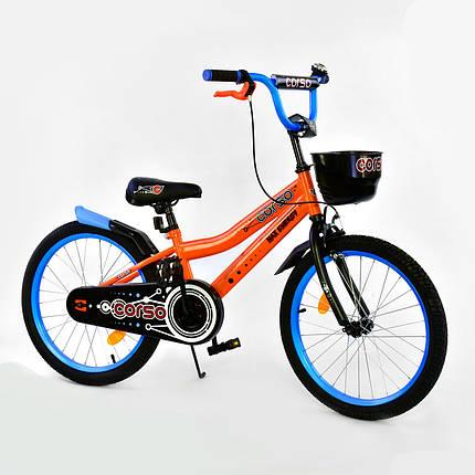 """Велосипед 20"""" дюймов 2-х колёсный R-20305 """"CORSO"""", ручной тормоз, звоночек, корзинка, фото 2"""