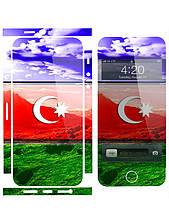 Наклейка на айфон 5 / 4 Флаг Азербайджана пейзаж