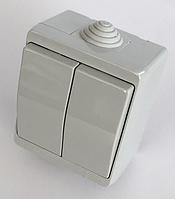Герметичный выключатель IP44 двухклавишный накладной влагозащищенный наружный хорошая цена купить