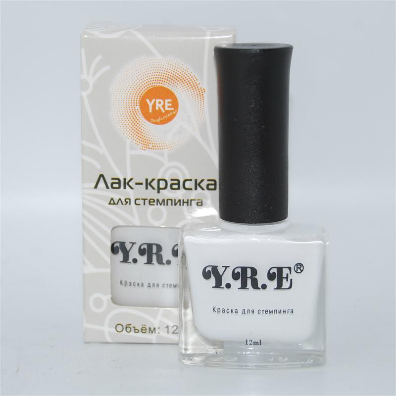 Лак-краска для стемпинга YRE, 12 мл (белый)