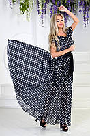 Женское летнее длинное платье в горох
