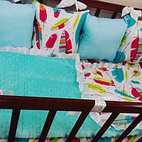 Бортики-защита в детскую кроватку + конверт-плед на выписку