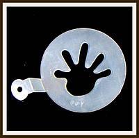 Трафарет маленький диаметр 7,4 см Ладошка, фото 1