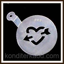 Трафарет маленький диаметр 7,4 см Сердечко со стрелой