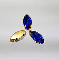 Cтразы в золотых цапах.Лодочка 9х18мм.Цвет Saphire