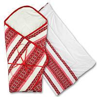 Конверт-одеяло вышиванка для новорожденного. Лён, интерлок, синтепух (арт. 9-20)