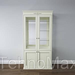 Шкаф книжный «Грация» 2 двери1020*500*2075 белый, молоко, фокс