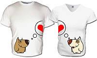 Парные футболки Влюблённые собаки, фото 1