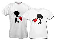 Парные футболки Влюблённые пазлы, фото 1
