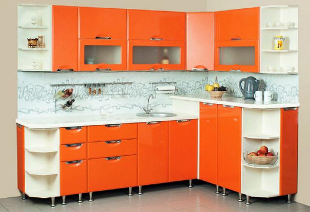 Кухня София Люкс оранжевая в интерьере.