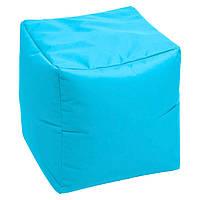 Пуфик кубик 35*35*35 см голубой из микро-рогожки