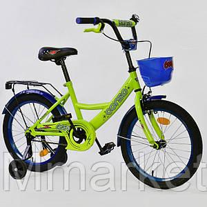 """Велосипед 18"""" дюймов 2-х колёсный G-18180 """"CORSO"""", ручной тормоз, звоночек, сидение мягкое, дополнительные кол"""
