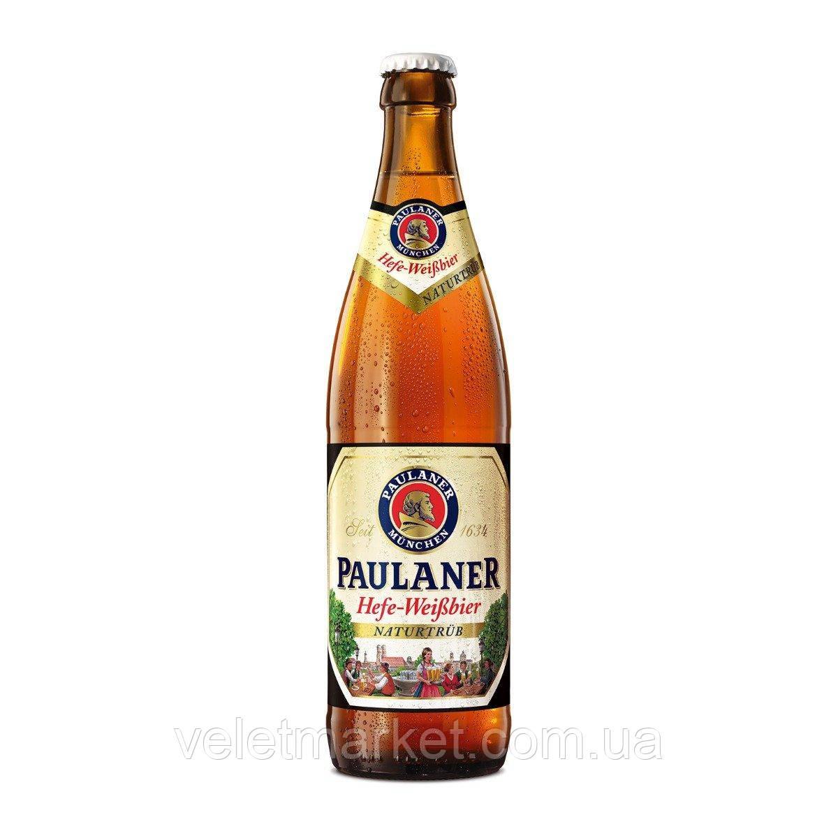 Немецкое пиво Пауланер Хефе-Вайсбир (Paulaner Hefe Weissbier Naturtrub) светлое пшеничное 0,5 л