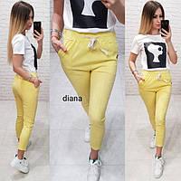Стильные женские брюки укороченные! Цвет: жёлтый, арт 999