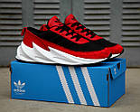 Мужские кроссовки Adidas Shark Red/Black/White. Живое фото. Реплика, фото 4