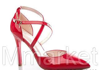 Женские открытые красные лаковые туфли лодочки на шпильке ремешки 36-40