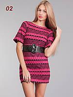 Женское вязанное платье розовое