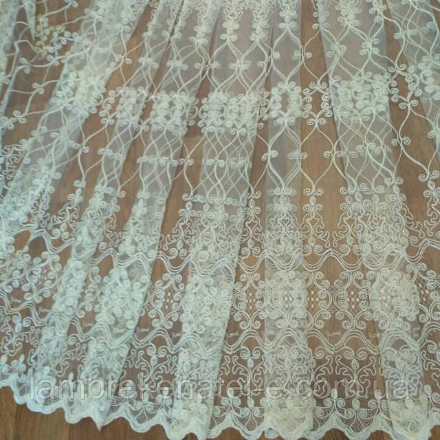 Тюль сетка фатиновая с кордовой вышивкой