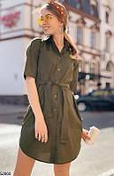 Платье рубашка летнее с поясом на пуговицах миди до колена рукав три четверти Цвет : Хаки Размер : 42 44 46 48 Материал : Поли - коттон