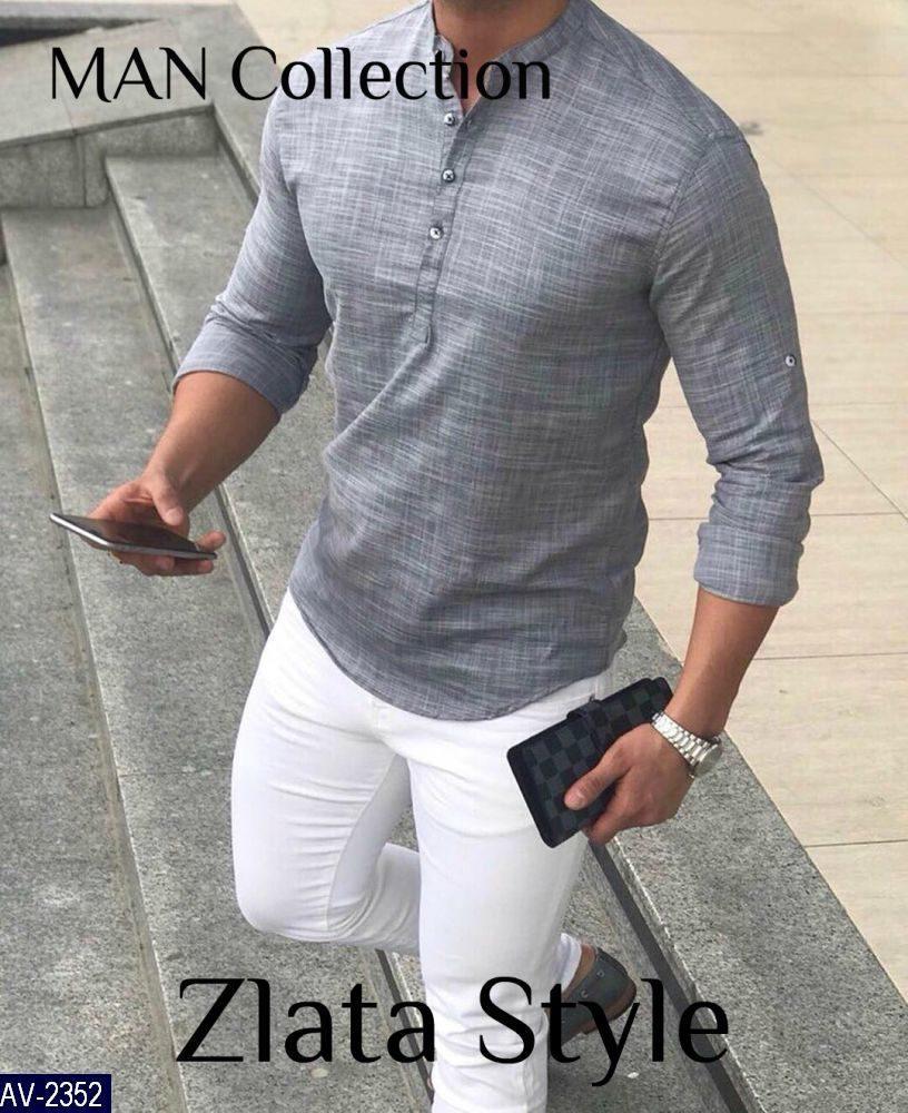 Мужская рубашка Ткань лен габардин. Размер 42-46,48-50,52-54