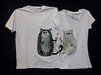 Парные футболки Коты с шампанским
