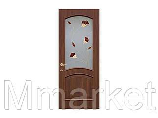 Полотно дверне ПВХ Интера 60 золота вільха Р1 (скло з малюнк) ТМНОВИЙ