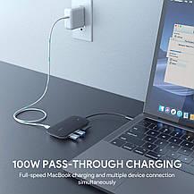 USB-концентратор-разветвитель AUKEY Type C 7в1 алюминиевый, фото 2
