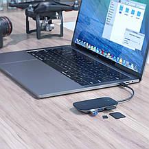 USB-концентратор-разветвитель AUKEY Type C 7в1 алюминиевый, фото 3