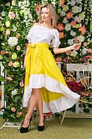 """Летнее двухцветное платье """"Кармен"""" с асимметричной юбкой (3 цвета)"""
